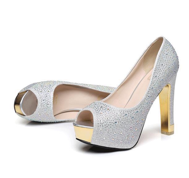 Glitter scarpe nozze d'argento con diamanti strass oro sexy tacchi alti Prom Princess dimensioni scarpe sfera 34-39 YL