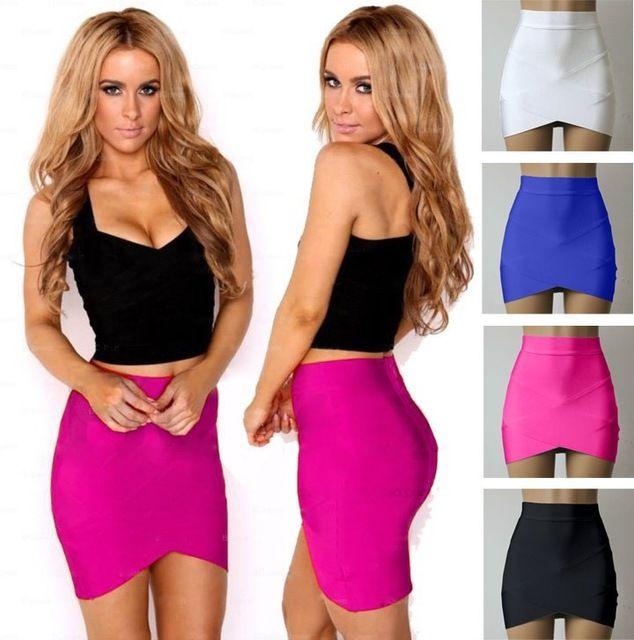 18b3bd188 Verano Low Elasticity Multi Color Sexy Micro Mini cintura alta lápiz  mujeres Faldas Casual Club apretado vendaje Bodycon falda