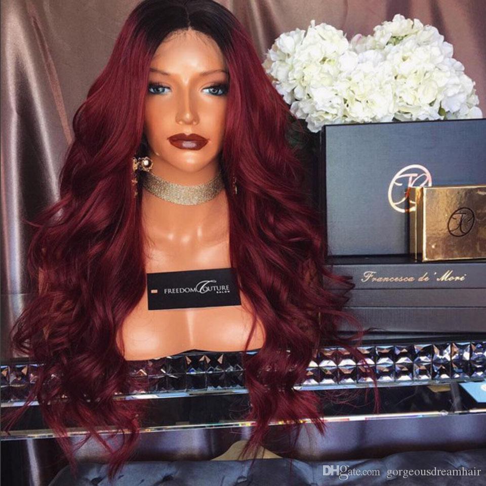 Ombre parrucca piena del merletto Braizlian Capelli Borgogna Two Tone 1B 99J Colore rosso Glueless del merletto anteriore / Parrucca piena del merletto Parrucca brasiliana dei capelli