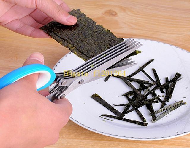 50 unids / lote envío gratis de acero inoxidable cuchillos de cocina 5 capas tijeras Sushi Shredded Scallion Cut especias especias tijeras