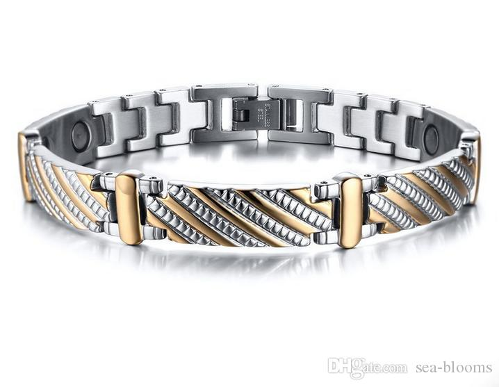 Classic Healthy Magnetic Titanium Steel Bracelet Men Business Gold Color Stainless Steel Charm Punk Energy Jewelry Christmas Gift B844S