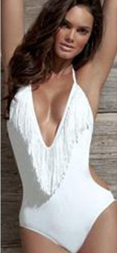 Costumi da bagno Monokini con frange da donna sexy più nuovi Frange Scollo a V Scollo all'americana Top all'americana Top Costume da bagno intero Costumi da bagno