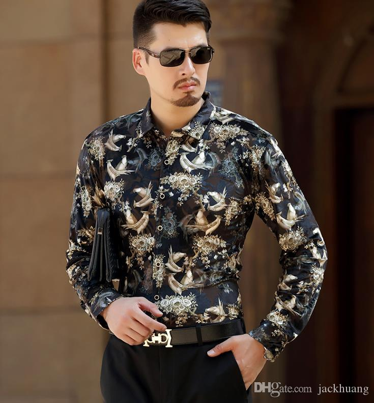 05f586f5adb 2019 Top Fashion Birds Print Mens Silk Shirts Long Sleeve Velvet Dress  Shirt Casual Formal Slim Fit Floral Shirt For Man From Jackhuang
