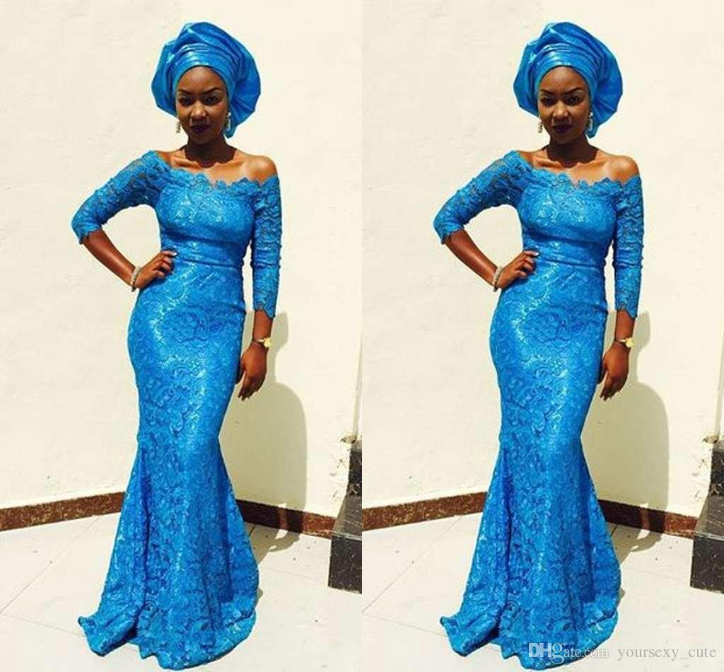 Klassische Spitze Mermaid Abendkleider 2017 Off Shoulder 3/4 Langen Ärmeln Bodenlangen Marineblau Prom Kleider Afrikanische Aso Ebi Kleider