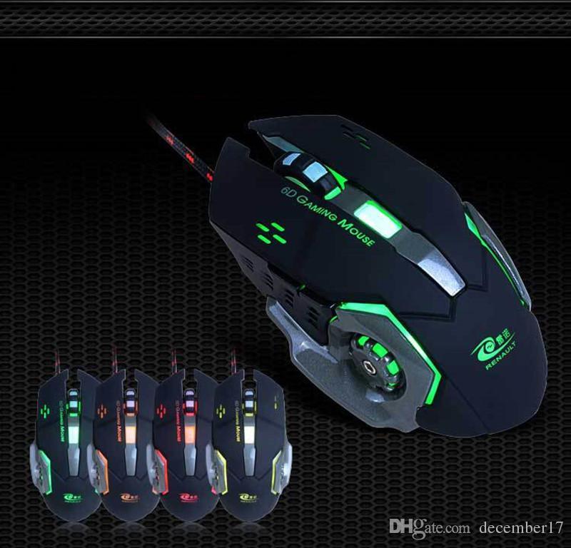 Profesyonel Oyun Fare 3200 DPI 6 Düğmeler 6D LED Optik USB Kablolu Bilgisayar Fare Oyun Fare Dizüstü PC için En Ücretsiz Kargo