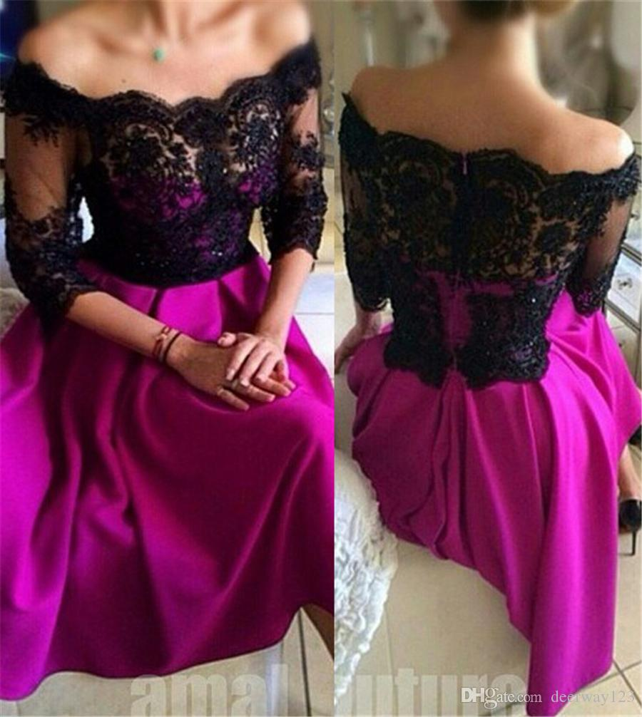 Off the Shoulder Black and Purple A-line 3/4 Sleeves Prom Dress Illusion Back Matte Satin Evening Dress vestidos cortos de fiesta