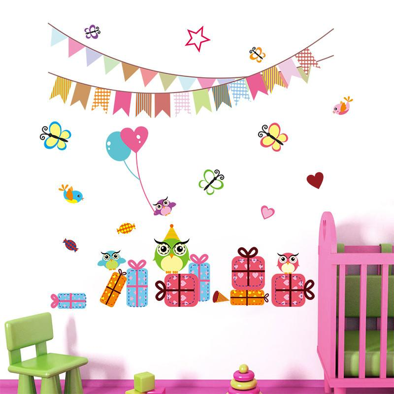 Cartoon Children Birthday Party Decoration 1023 Wall Stickers For Kids Rooms Decals Balloon Butterfly Nursery Room Decor Art And