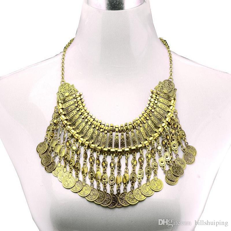 Moda europea joyería de estilo bohemio cadena de monedas borlas Declaración turca grueso collar de talla gargantilla flor collares