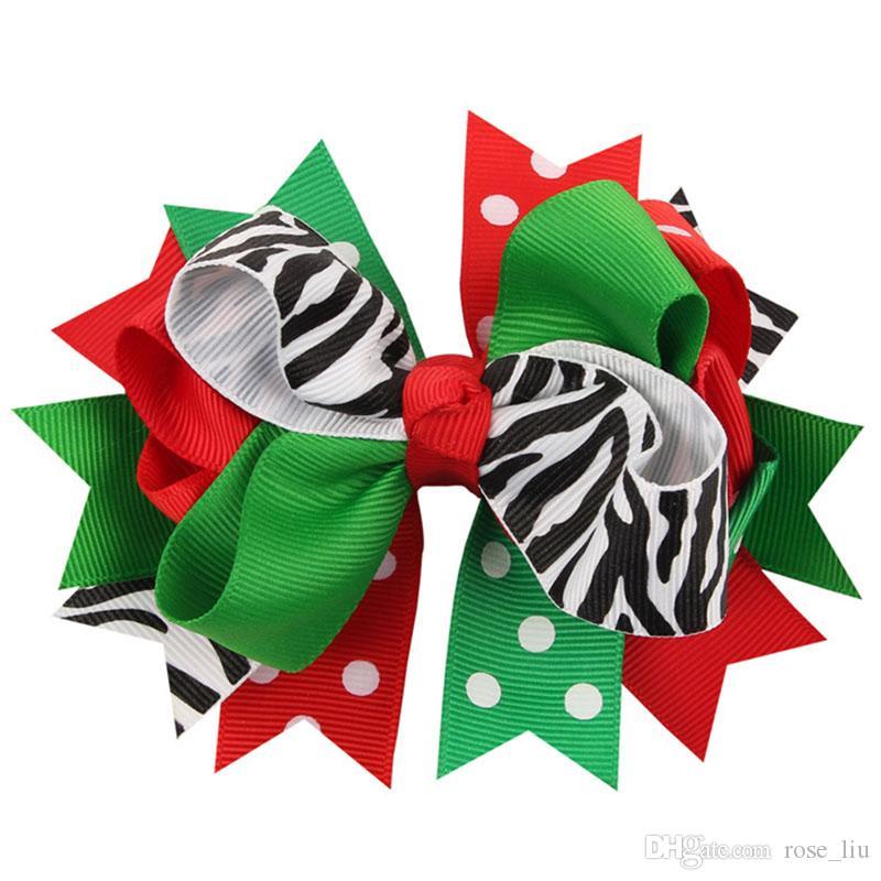 13 Design Girls Christmas stripe dot épingles à cheveux Barrettes NOUVEAU enfants accessoires de cheveux princesse Layered Bow Hair clips B