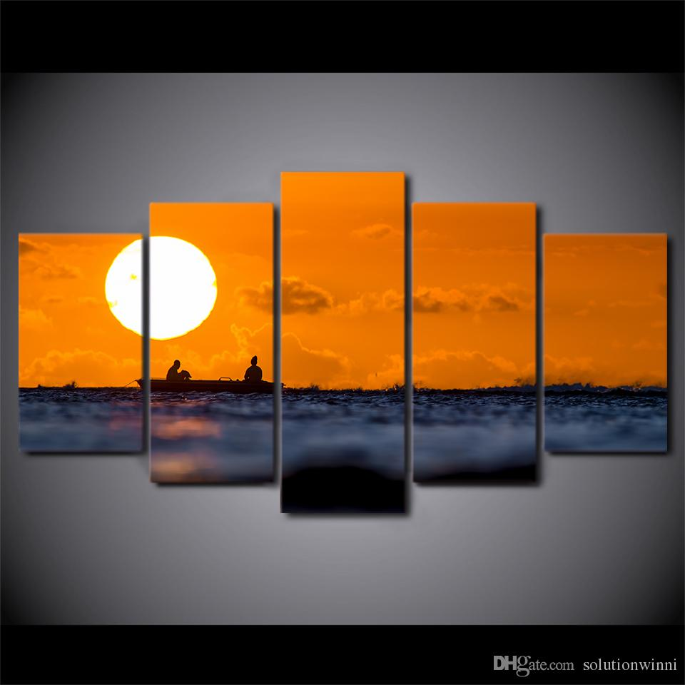 Framed Printed Sunset Sun Seascape Poster Modern Home Wall Decororation Print Painting Canvas Wall Picture
