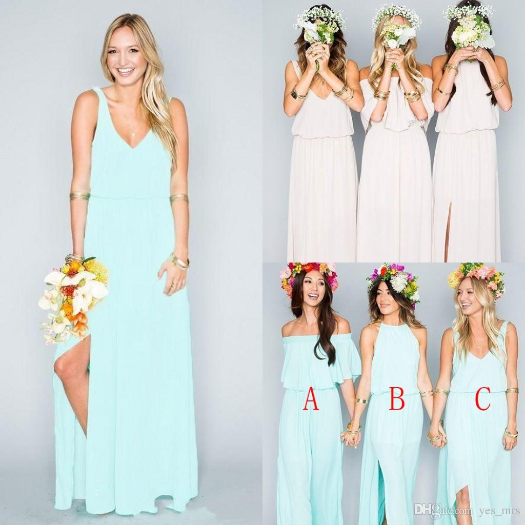 2016 bohemian bridesmaid dresses wedding guest wear v neck mint 2016 bohemian bridesmaid dresses wedding guest wear v neck mint green chiffon split long party beach boho plus size maid of honor gowns bridesmaid dress ombrellifo Images