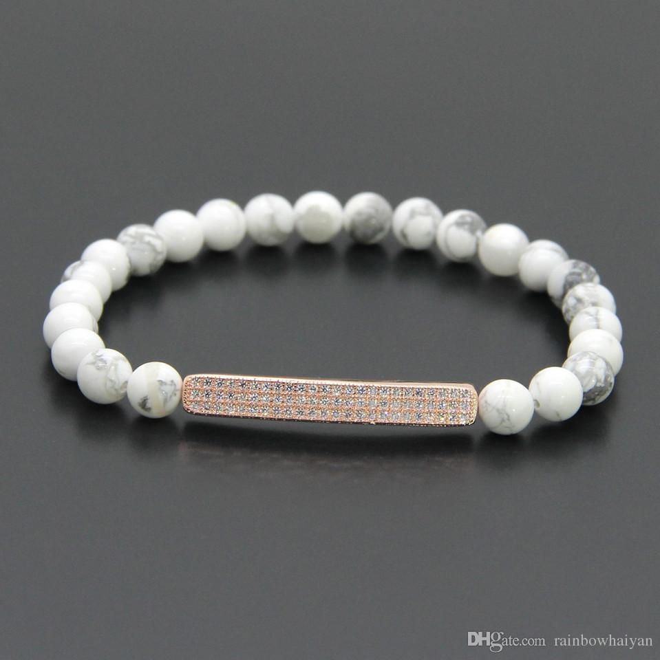 Venta al por mayor / Summer Bars Zircon Jewelry 6mm White Howlite Marble Stone con Micro Inlay Pave Tube Beads Mens Pulseras