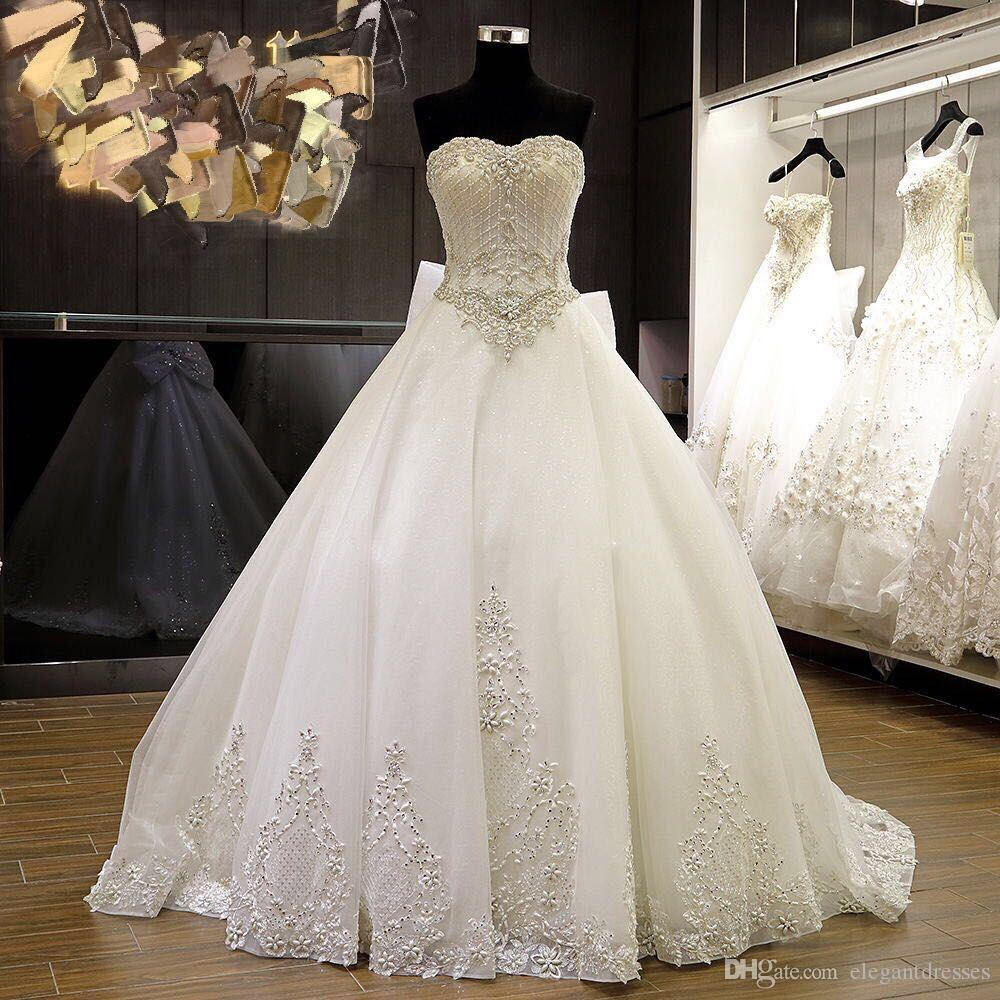 2016 Real Image Beaded Ball Gown Sweetheart Ivory Organza Lace Appliqe Up Nigerian Wedding Dresses Bridal Gowns Sexy From