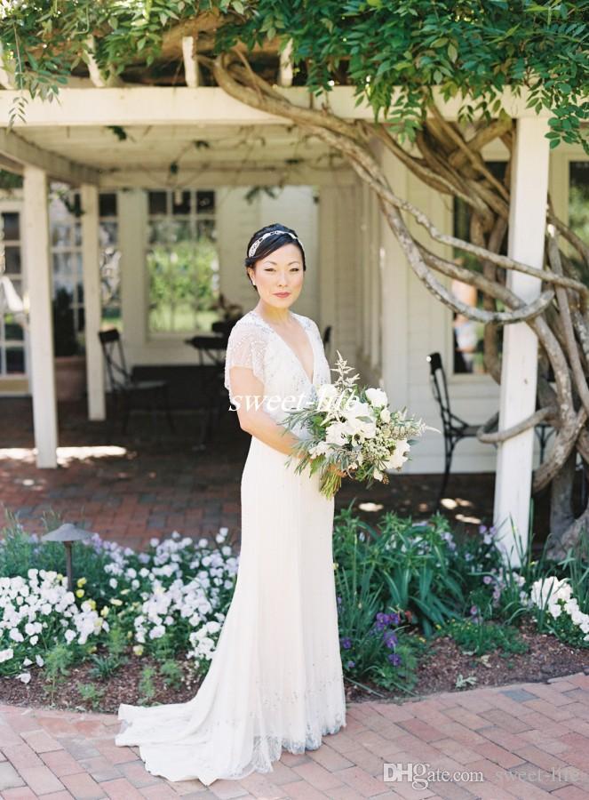 Jenny Packham Vestidos de novia con vaina vintage Sin respaldo Cristales de lujo Mangas cortas de gasa Cuello en pico 2020 Vestidos de novia de país Boho