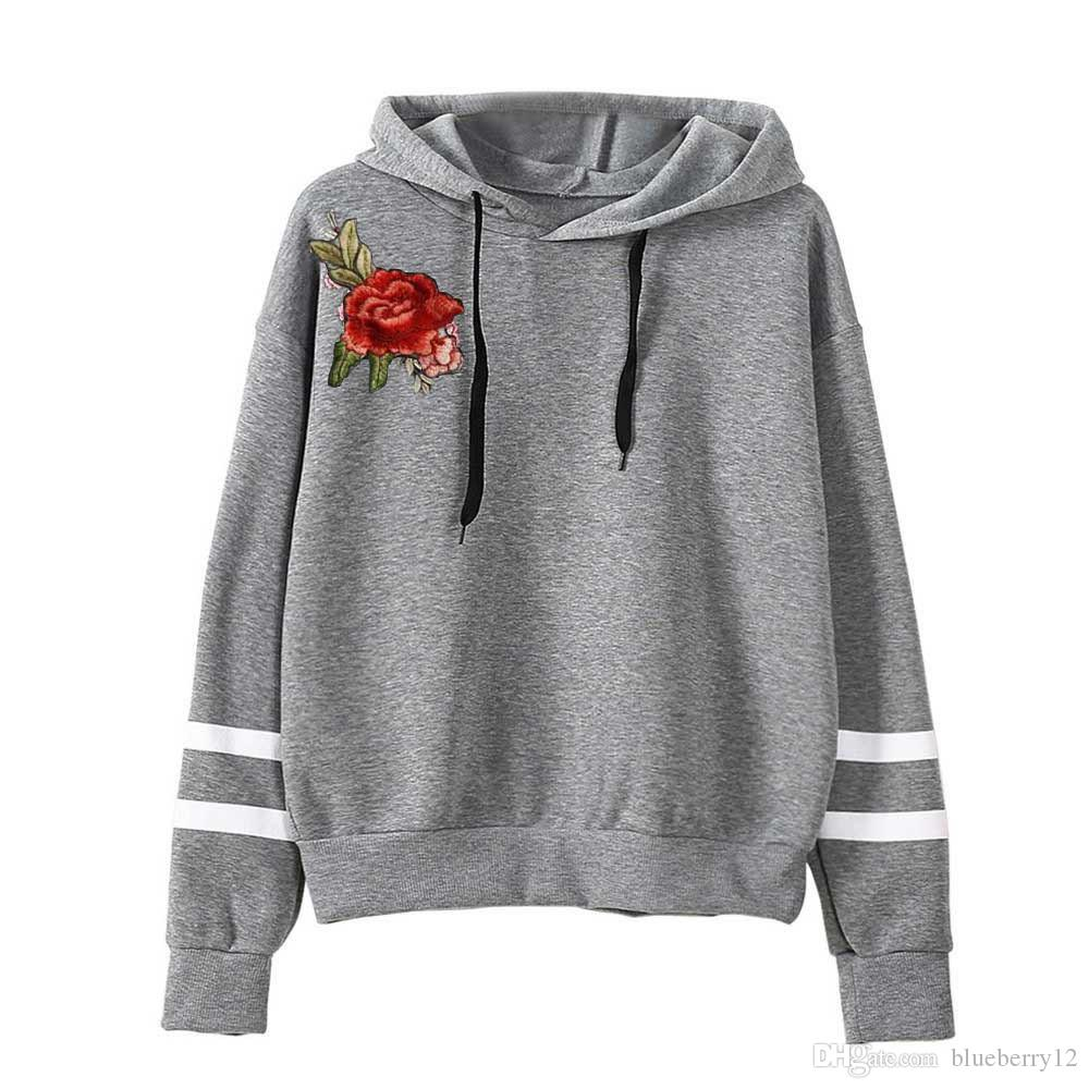 Suéter de las mujeres del otoño de las mujeres impreso floral con capucha sudaderas con capucha sudadera de manga larga Sexy Girl Top Sportwear con capucha