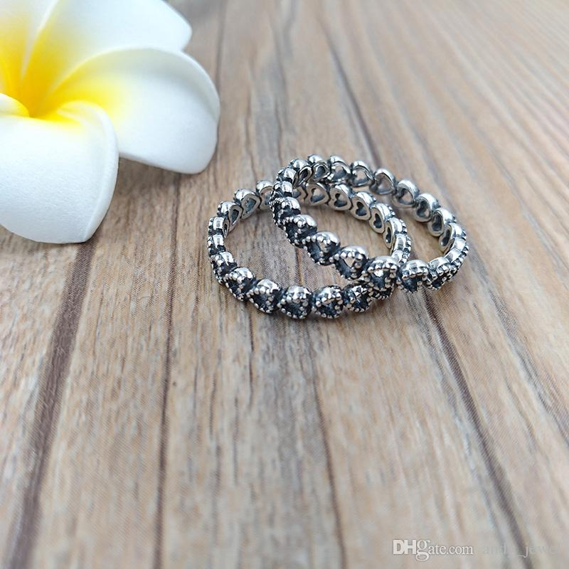 Authentic 925 Sterling Silver Rings Openwork Linked Love Ring Fits European Pandora Style Jewelry 190980