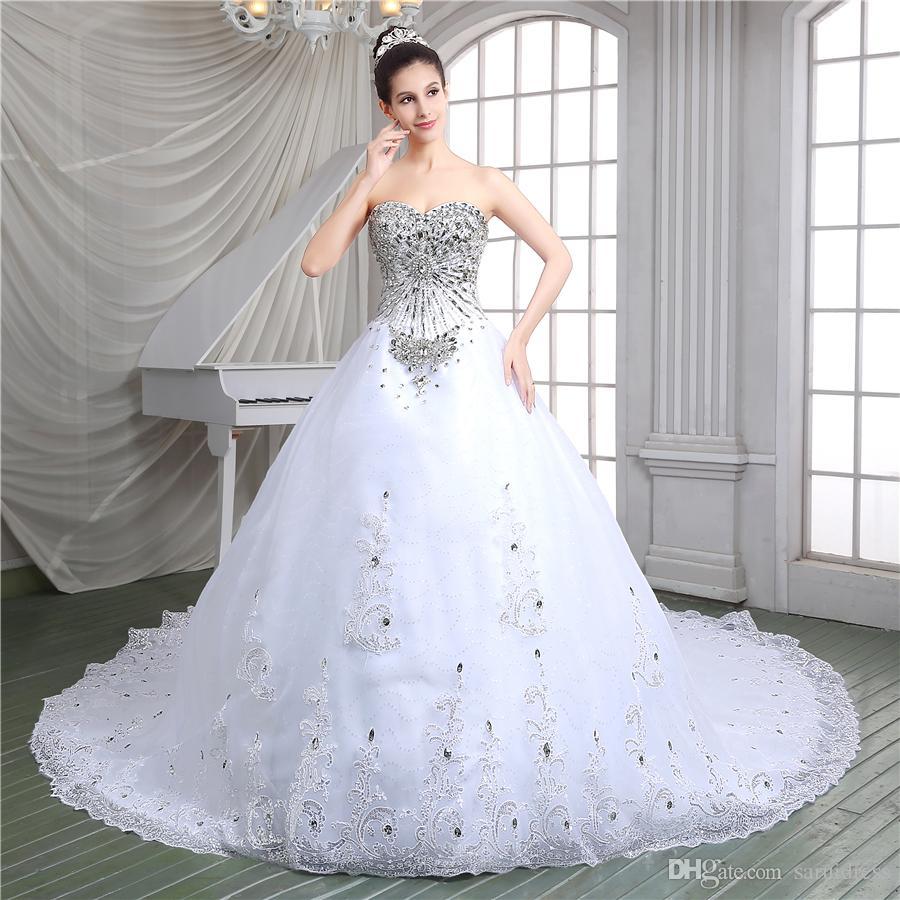 A-ligne sweetheart appliques jardin perlé ensembles gratuits Voile robes de mariée en cristal de luxe luxe dentelle cathédrale à lacets retour robes de mariée