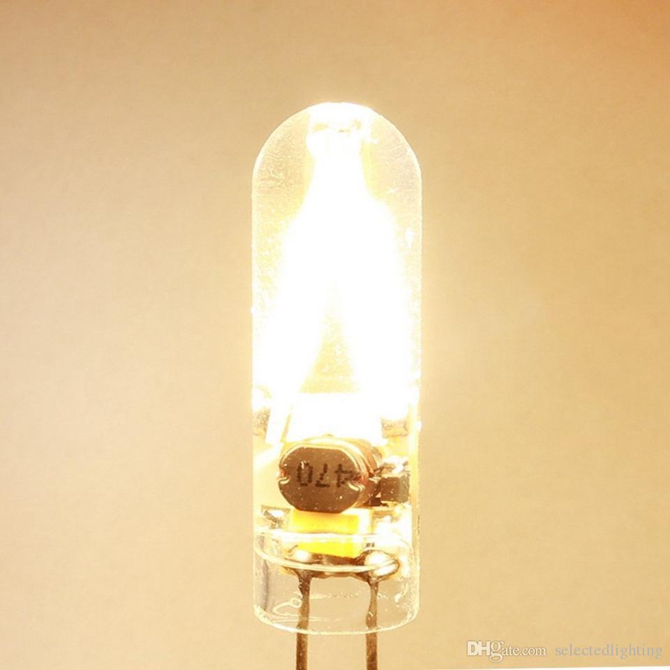 G4 Levou Lâmpada bulbo holofotes de Refrigeração de vidro 12 V AC DC cob Corn Lâmpada Lâmpadas de Silicone Suportando lustres branco quente branco