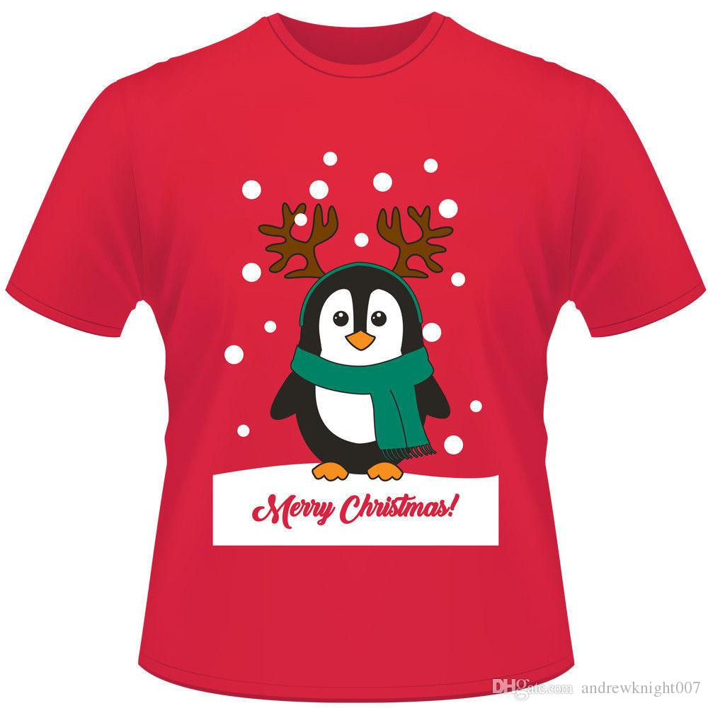 Mens Julkvinnor Unisex Bomull Xmas Gåvor T Shirt Santa Reindeer Snowman Skriv ut Kortärmad Xmas Novelty Tees Tops T-tröja DK0552BK