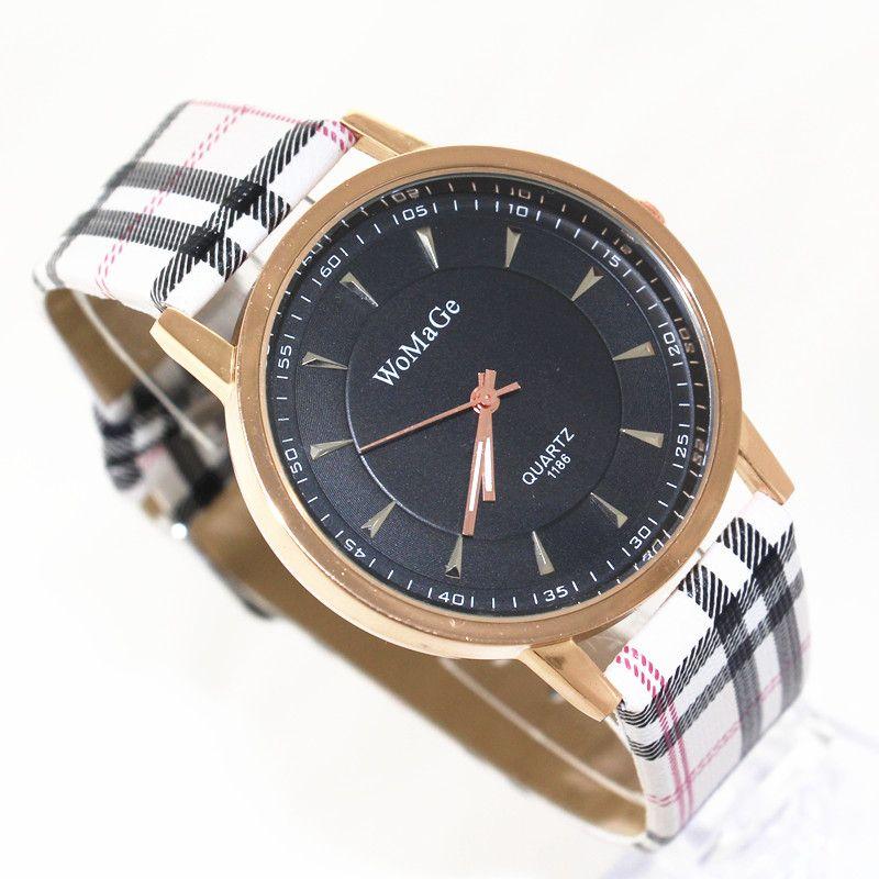 !PU leather belt,gold plating alloy round case,black dial,quartz movement,womage fashion unisex young quartz watches,1186