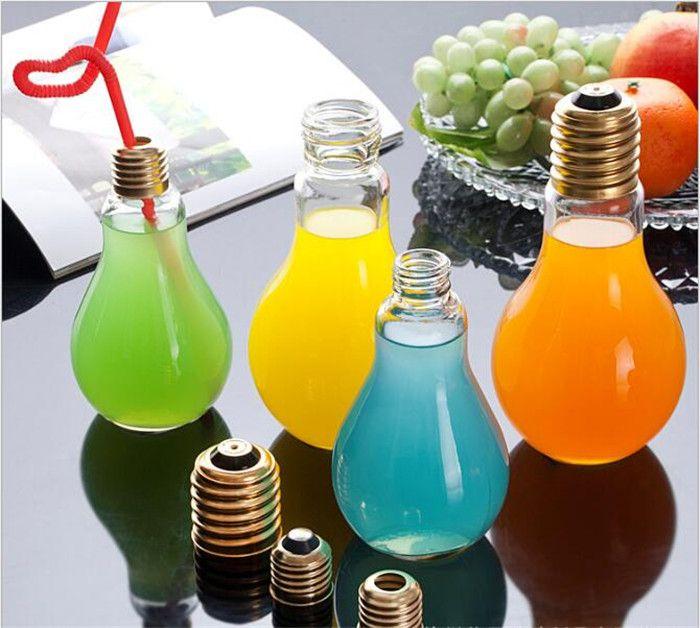 Créatif accrocheur Forme de l'ampoule Thé Jus de fruits Boisson Bouteille Coupe Plante Fleur Verre En Verre Home Office Desk Décoration G103