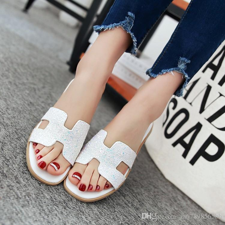 vintage pu soft leather women flats sandals slippers beach shoes for women flip flop pink white black
