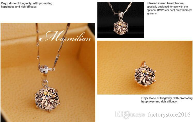 925 sterling silver necklace items crystal jewelry 6 claw diamond pendant statement necklaces wedding charms
