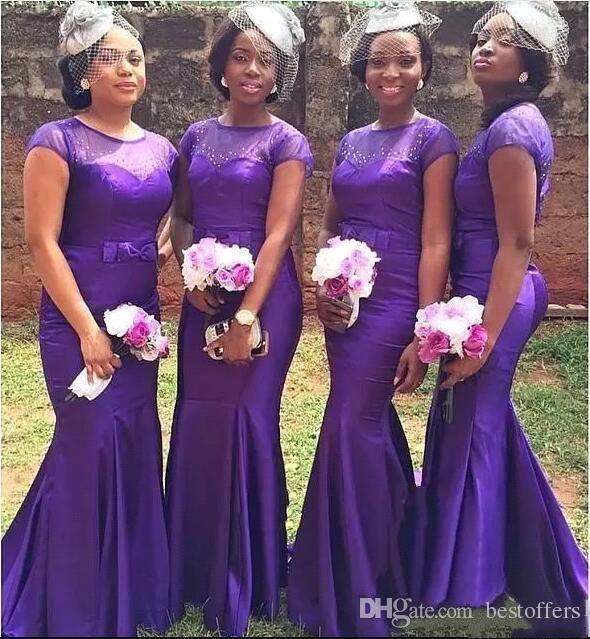 Afrique du Sud longues robes de demoiselle d'honneur 2018 Sheer Jewel Neck avec noeud de ruban demoiselle d'honneur robes de pays formelle robes de mariage
