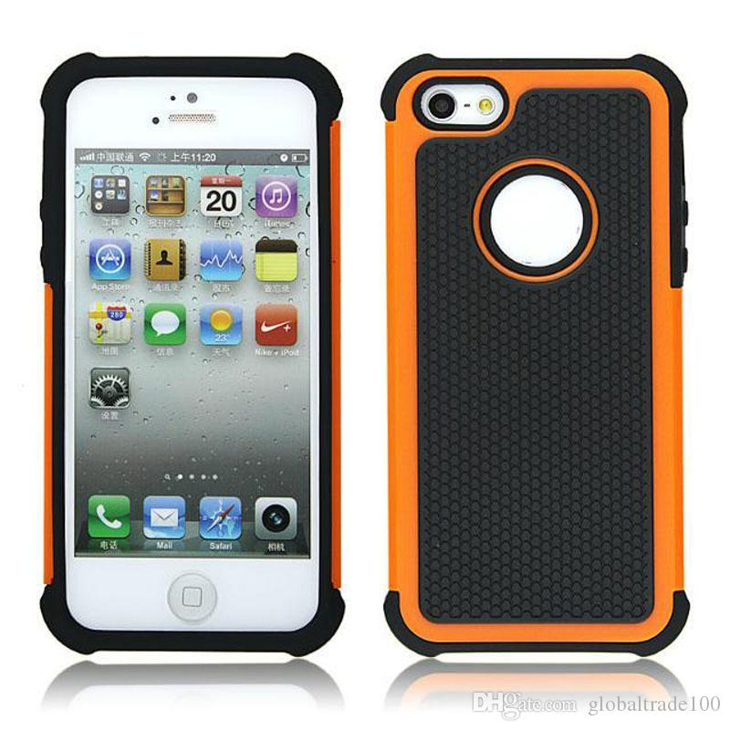 Híbrido Hard Armor Cases Pesado a prueba de golpes 2 en Funda de silicona Cove para iPhone 4S 5S 6S 7 Plus iPod Touch 5