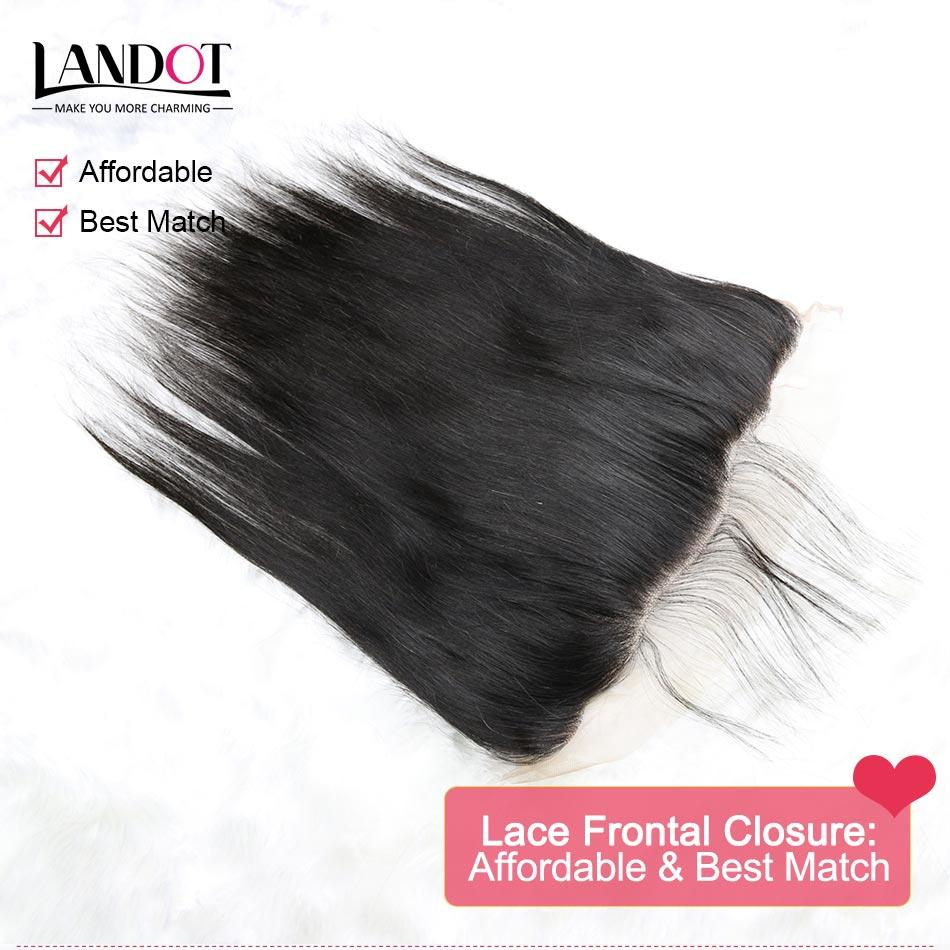 Brazilian Straight Lace Frontal Closure Malaysian Indian Peruvian Cambodian Unprocessed Virgin Human Hair Closures 13x4 Size With Baby Hair