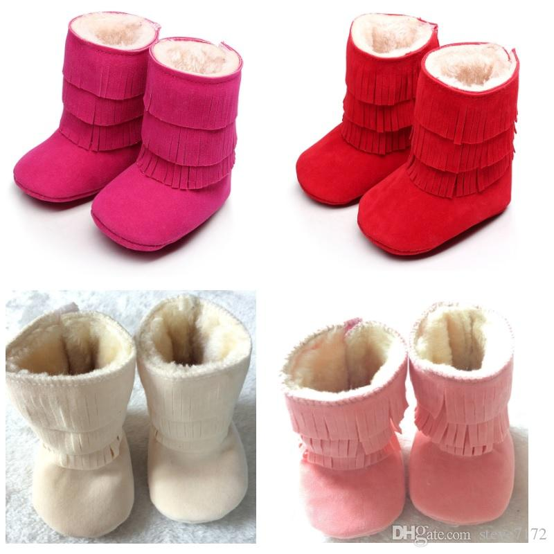 d7e9741ebd8bc 2019 Baby Girls Boots Solid 0 3year Snow Winter Newborn Moccasin Bebe First  Walkers Boys Boot Children Shoe Fur Fringe Suede From Steve7172