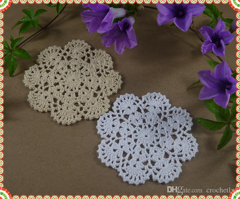 of Handmade Crocheted Doilies Placemats Shabby Chic Nostalgic Vintage Look Sector Diameter 12cm