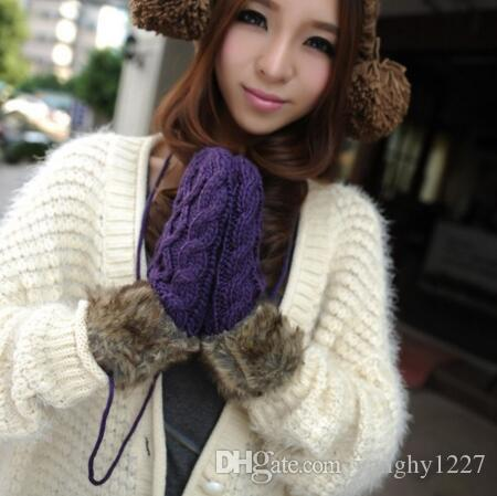 Hot Sale Women's Winter Mitten Kintted Gloves Thick Warm Cute Gloves Fur Wool Gloves for choosing Make By Hand High Quality