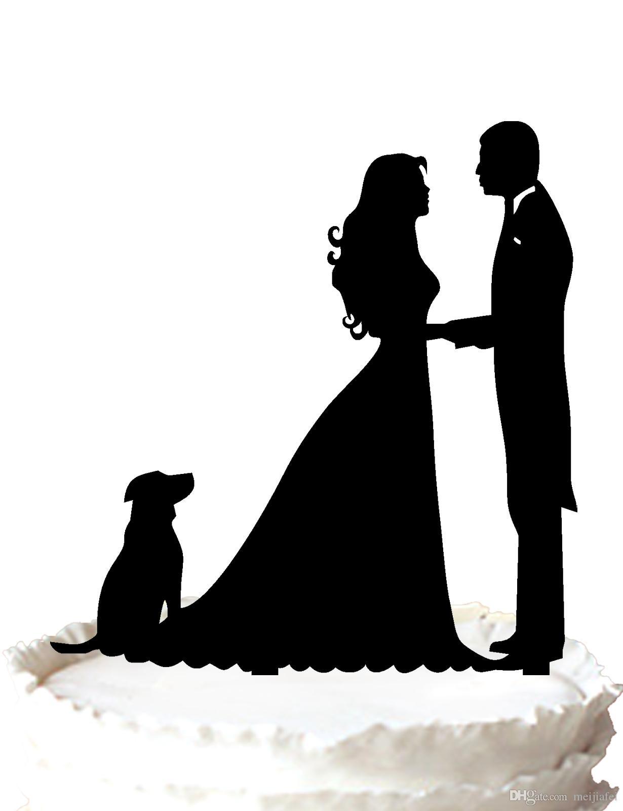2018 Funny Wedding Cake Topper Bride And Groom Silhouette With Dog ...