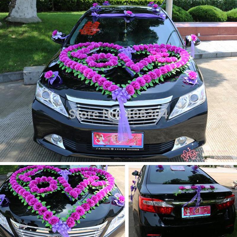 Wholesale Artificial Flowers Wedding Car Decoration Set With Heart LOVE Decorative House Fiori Flowerswedding