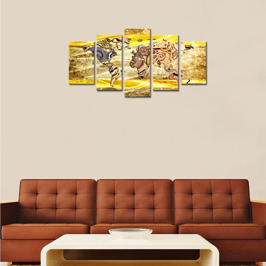 5 Stück Leinwand Wand Kunstdrucke Metallgetriebe oder Maschinenteile Abstrakte Weltkarte das Bild Drucke auf Leinwand für moderne Inneneinrichtungen gerahmt