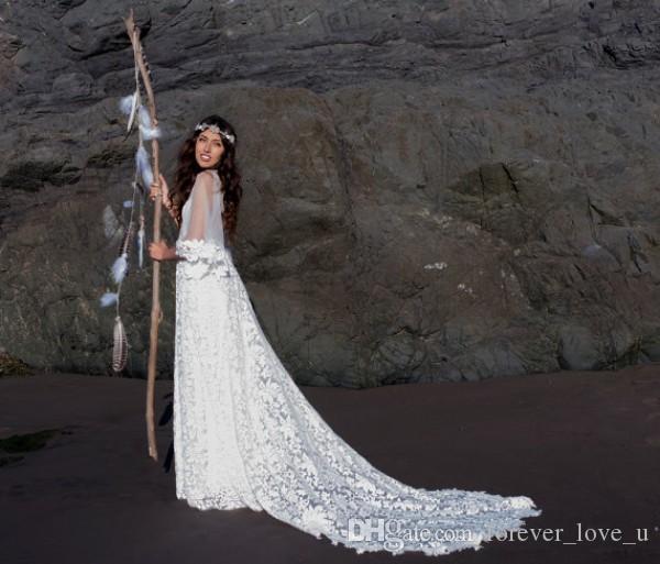 New Robe de mariée sexy Illusion Corsage Sheer Retour Vintage Bohème Robes de mariée en dentelle avec manches Flare Cour train pas cher