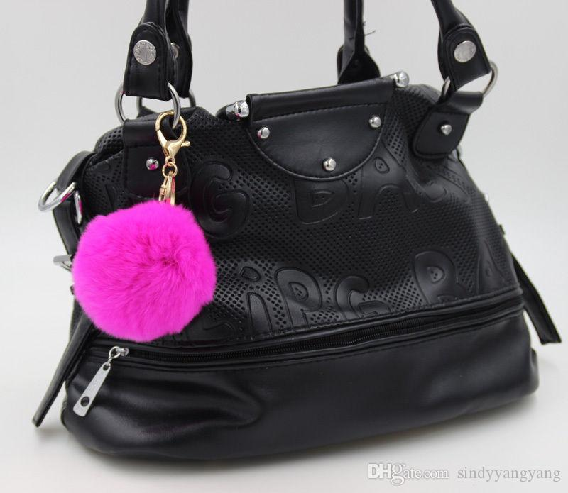 Sindyyang Gold Rabbit Fur Ball Keychain fluffy keychain fur pom pom llaveros portachiavi porte clef Key Ring Key Chain For Bag