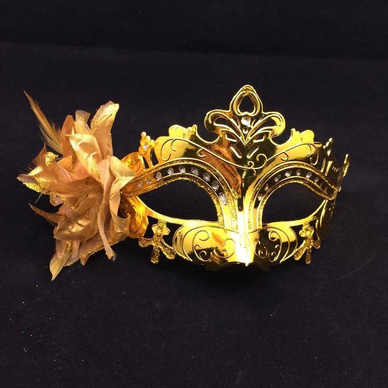 Auf Verkauf Vergoldung Partei Masken Half Face Frau Masken Feder Blume Neben Venezianischen Maskerade Mask Mix Farbe kostenloser versand