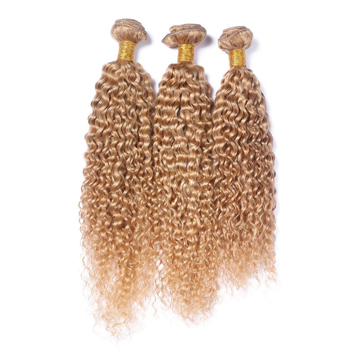 العسل شقراء البرازيلي غريب مجعد الشعر البشري ينسج مع الدانتيل أمامي إغلاق # 27 الفراولة شقراء 13x4 كامل الرباط أمامي مع 3 حزم