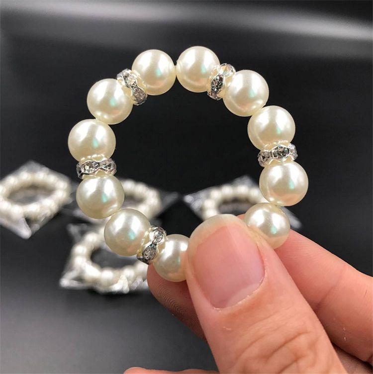 / blanc Perles serviette anneaux de mariage serviette Boucle pour la réception de mariage Party Décoration de table Fournitures I121