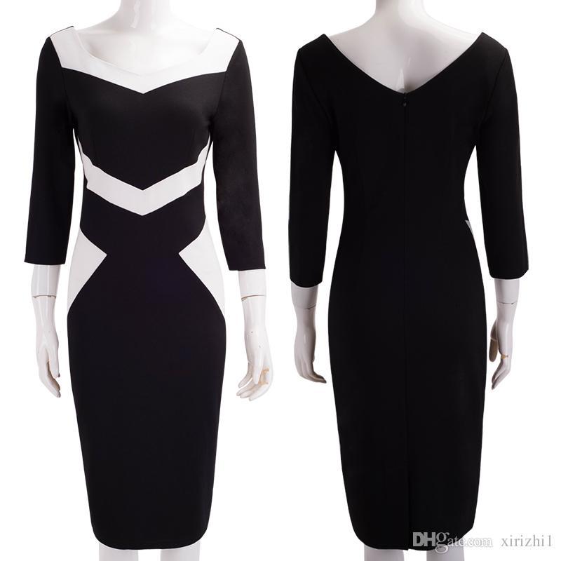 Sonbahar ve Kış Kadın Elbise Üç Çeyrek Kol Avrupa Siyah ve Beyaz Zarif Örgü Pamuk Karışımı Bodycon Elbise