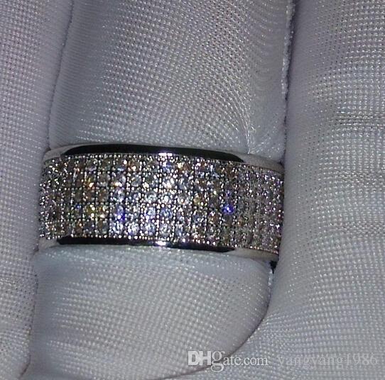 Großhandel - Schmuck Diamonique simuliert Diamant weiß voller Topas 10KT White Gold gefüllt Frauen Ehering Ring Geschenk Sz 5-11