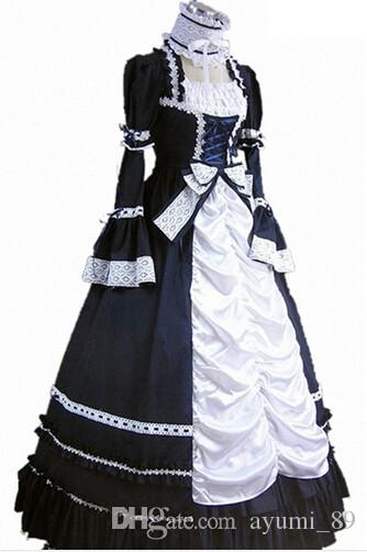 Long Sleeveless Southern Bell Costume Gothic Lolita Dress Victorian Party Halloween Costumes for Women Adults Black Red Pink Blue Yellow