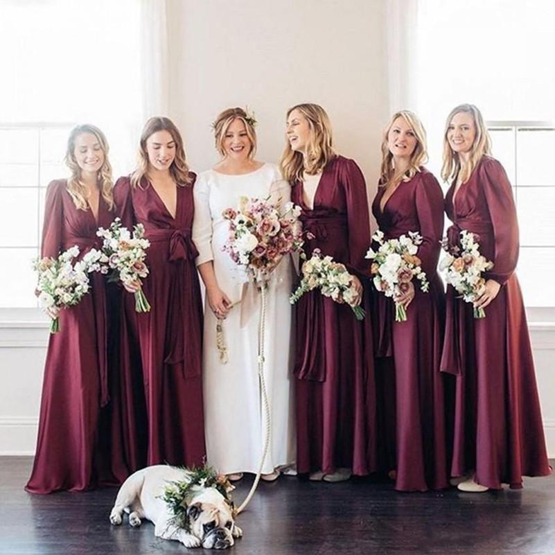 Elegant Burgundy Long Sleeve Bridesmaid Dresses V Neck Boho A Line ...