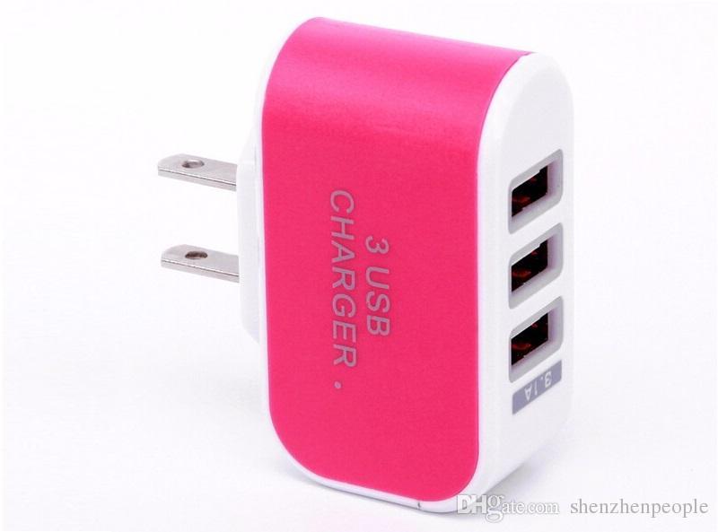 US EU Plug 3 USB Chargeurs muraux 5V 3.1A Adaptateur LED Adaptateur de voyage pratique avec triple ports USB pour téléphone portable