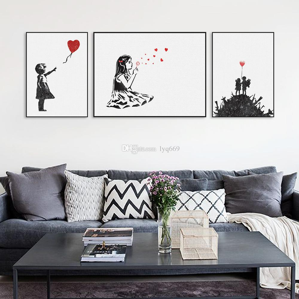 2018 modern black white banksy poster print a4 urban for W home decor