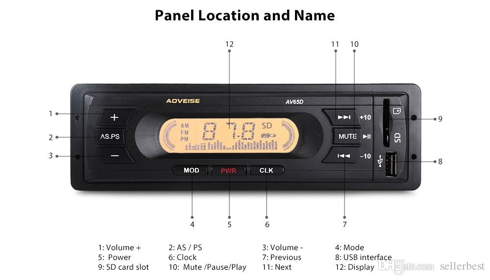USB SD MP3 Multimedia Player LCD Display Screen High-definition FM Audio Automatic Scanning AV65D 12V Car Audio Stereo Radio