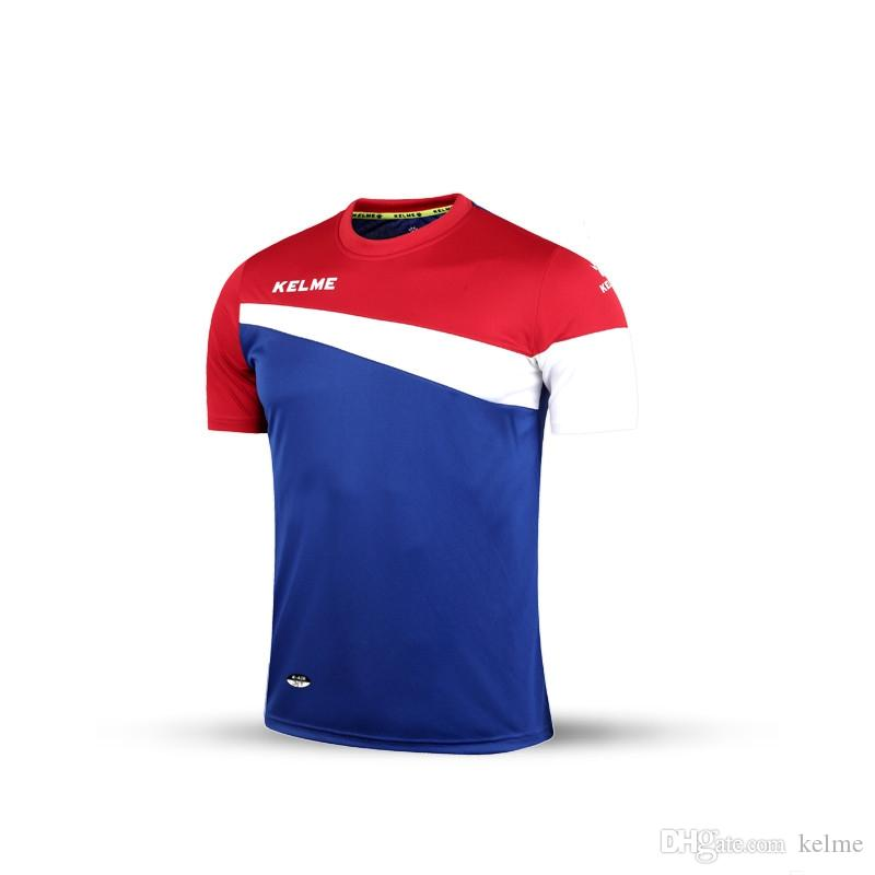Free Shipping Kelme K15Z219 Men Short Sleeve Training Football Jersey T-shirt Blue Red White