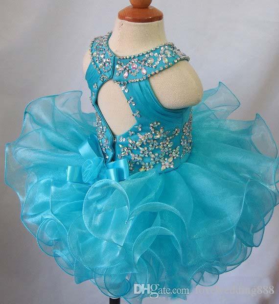Gerçek Görüntü Mavi Boncuk Ruffles Ucuz Yürüyor Küçük Kızlar Pageant elbise Organze Glitz Balo Bebek Kek Çiçek Kız Törenlerinde